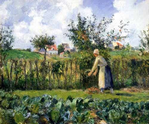 "cuadros de paisajes - Cuadro ""The cutting of the hedge"" - Pissarro, Camille"