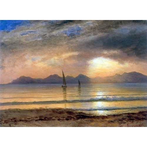 Comprar  - Cuadro Sunset Over A Mountain Lake online - Bierstadt, Albert