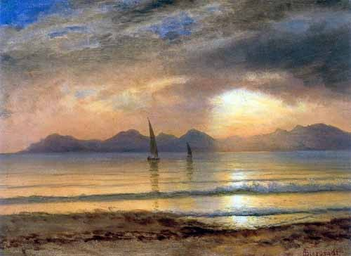 Comprar landscapes - Sunset Over A Mountain Lake online - Bierstadt, Albert