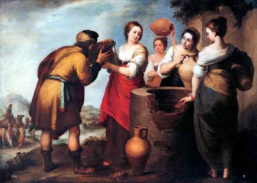 religious paintings - Rebeca y Eliecer - Murillo, Bartolome Esteban